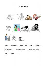 English Worksheets: Build up your vocabulary - Actions 1