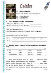 English Worksheets: Film: Cellular