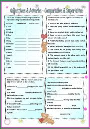 English Worksheet: Adjectives & Adverbs - Comparative & Superlative