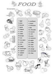 Food vocabulary - ESL worksheet by silvanija
