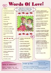 English Worksheet: WORDS OF LOVE! -love related vocabulary and love quotes ( 2 pages + keys) for intermediate students