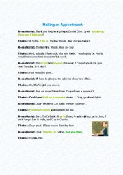 English worksheet: making an appointment