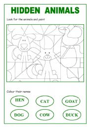 English Worksheets: hidden animals