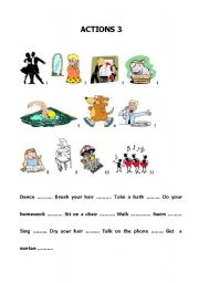 English Worksheets: Build up your vocabulary - Actions 3