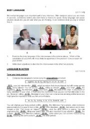 English Worksheet: Body Language - Job Interviews