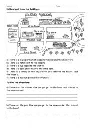English Worksheet: Draw buildings and give directions