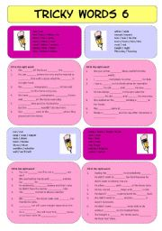 English Worksheets: Tricky Words 6