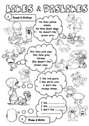 English Worksheet: Likes & dislikes