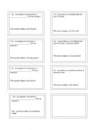 English Worksheets: Part of Speech Loop Cards