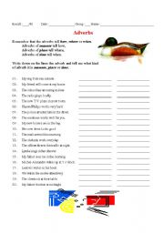 English Worksheets: Adverbs ( place, time and manner )