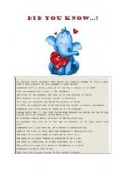 English Worksheets: Fun facts about elephants