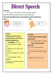 Direct Speech - ESL worksheet by nermien rabie