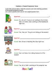 English Worksheets: Present Continous questions