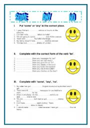 ESL worksheets for beginners: SOME ANY NO exercises