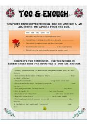 English Worksheets: Too & Enough
