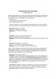English Worksheets: Common Interview Questions