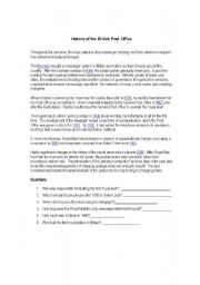 English Worksheet: History of the British Post Office