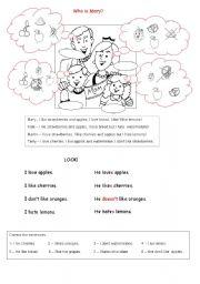 English Worksheets: Food. I like, I love, I don�t like, I hate ....puzzle