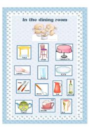 Good English Worksheet: Furniture (3/6)   Dining Room Part 3