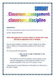English Worksheets: Classroom management: discipline (article summary)