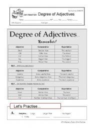 English Worksheet: Degree of Adjectives