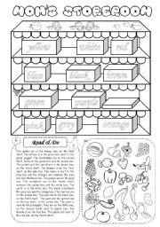 English Worksheet: Mom´s storeroom (fruit & vegetables) - Cut & paste activity
