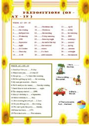 English Worksheet: PREPOSITIONS ( AT -- ON -- IN)