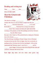 english worksheet how the grinch stole christmas - How The Grinch Stole Christmas Pdf