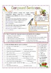 English Worksheet: Compound Sentences & Coordinators