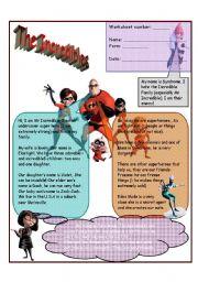English Worksheets: the incredibles 2 worksheets
