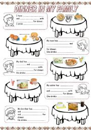 English Worksheet: MEALS IN MY FAMILY (3) - DINNER