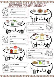 English Worksheet: MEALS IN MY FAMILY (4) - SUPPER