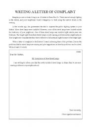 english teaching worksheets a letter of complaint english worksheets writing a letter of complaint