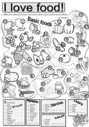 English Worksheets: Basic Foods #1