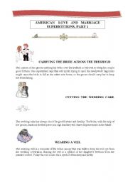 English Worksheet: AMERICAN LOVE AND MARRIAGE SUPERSTITIONS