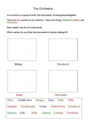 English Worksheets: The Orchestra
