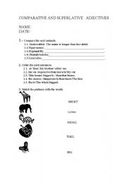 Comparative adjectives a worksheet about adjectives and their