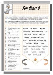 English Worksheets: Fun Sheet 3