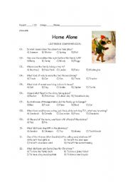 English Worksheets: Home Alone film comprehension