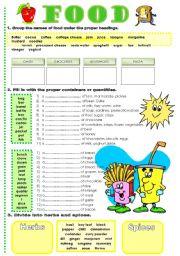 English Worksheets: food