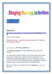 English Worksheets: Staging fluency activities (summary)