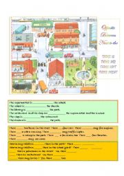 English Worksheet: Places in town - basic prepositions