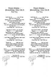 English Worksheets: Bryan Adams - Everything I do  (song)