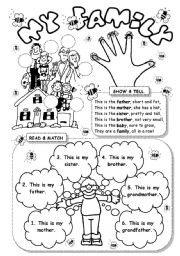 English Worksheets: My family (2)