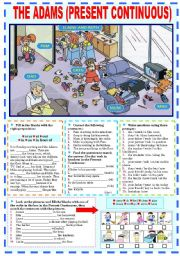 English Worksheets: THE ADAMS (PRESENT CONTINUOUS)