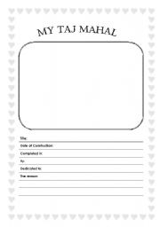English Worksheet: Taj Mahal writing sheet