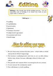 English Worksheets: The writing process 4 - - - Editing