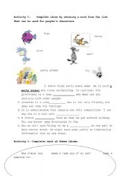 English Worksheet: idioms to compare people with animals