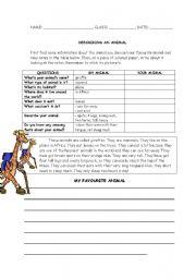 English Worksheet: DESCRIBING AN ANIMAL