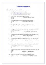 Worksheet on ´should have´
